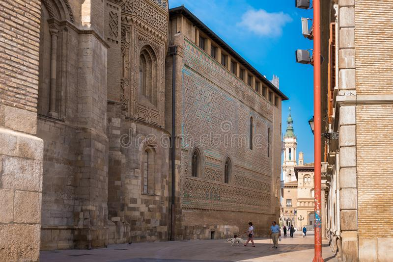 ZARAGOZA, SPAIN - SEPTEMBER 27, 2017: The Cathedral of the Savior or Catedral del Salvador. Copy space for text. stock photography