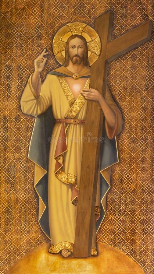 ZARAGOZA, SPANJE - MAART 1, 2018: Het schilderen van Doen herleven Jesus Christ met het kruis in kerk Iglesia del Perpetuo Socorr royalty-vrije stock foto