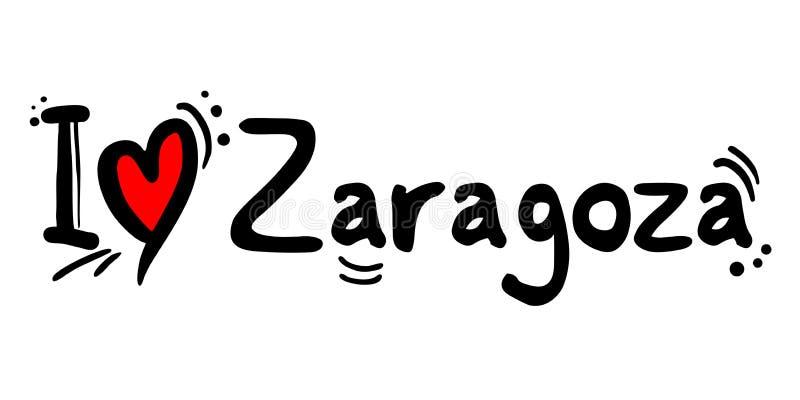 Zaragoza Stad van de liefdebericht van Spanje stock illustratie