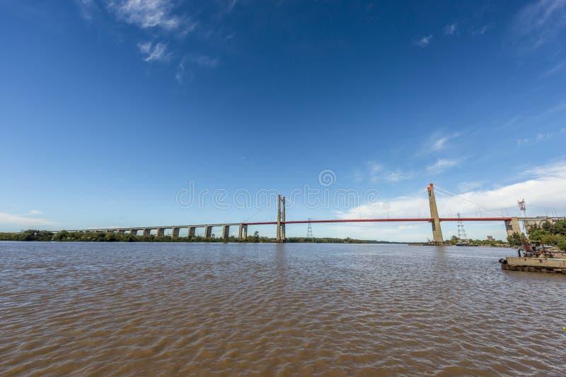 Zarate Brazo缓慢地桥梁, Entre里奥斯,阿根廷 免版税图库摄影