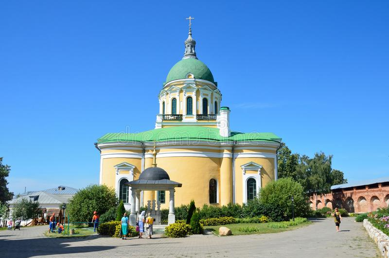 Zaraysk, Russia, August, 13, 2015. Cathedral of the beheading of John the Baptist and the walls and towers of the ancient Zaraysk royalty free stock photo