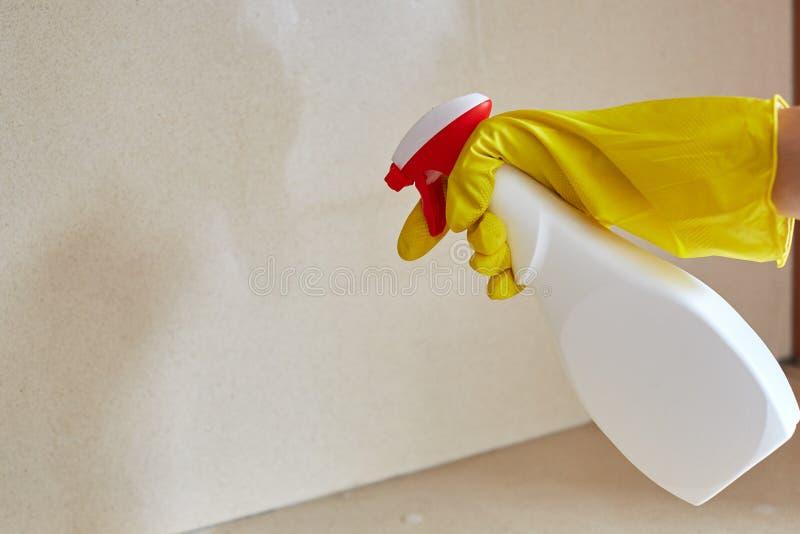 Zarazy kontroli pracownika opryskiwania pestycyd wśrodku domu obrazy stock