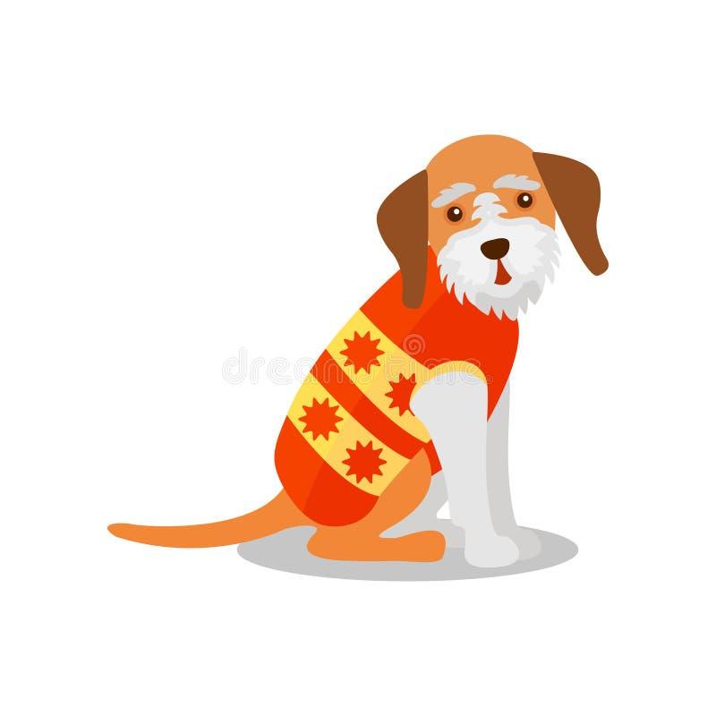 Zarodowy teriera pies w jaskrawej kamizelce, ślicznego szczeniaka zwierzęcia domowego charakteru wektorowa ilustracja na białym t ilustracja wektor