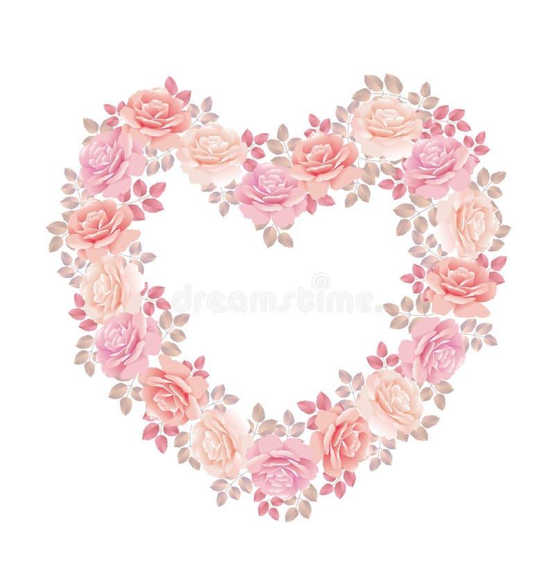 Zarter Farbrosa-Rosenblumenstrauß in der Herzform stock abbildung