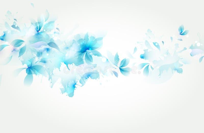 Zarter Hintergrund mit blauer abstrakter Blume stock abbildung