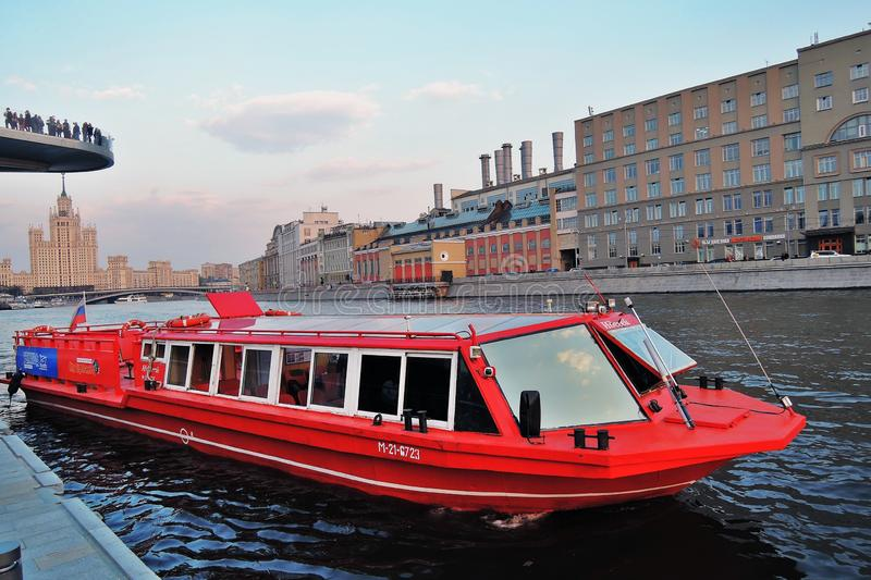 Red cruise ship. Zaryadye park in Moscow. Popular landmark. stock images