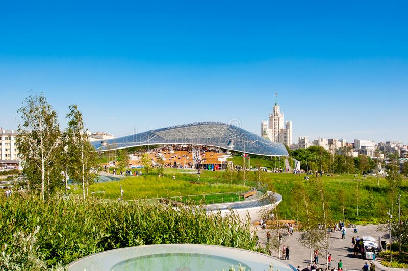 Zaryadye Park reflected Russian nature and history full of people during the sunny day in Moscow. Moscow, Russia May-27,2018: Zaryadye Park reflected Russian stock photo