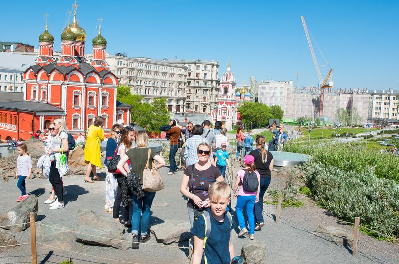 Zaryadye Park reflected Russian nature and history full of people during the sunny day in Moscow. Moscow, Russia May-27,2018: Zaryadye Park reflected Russian royalty free stock image