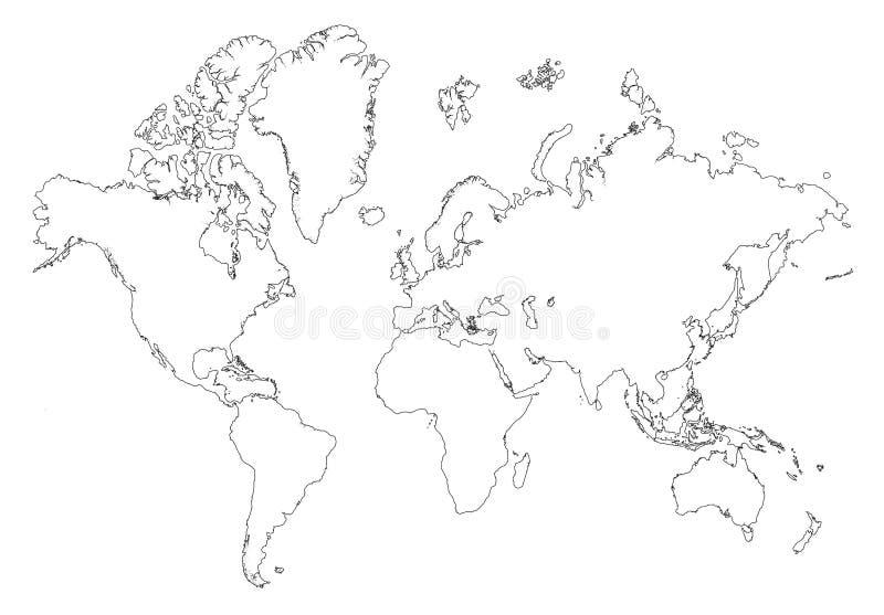 zarys mapa świata royalty ilustracja