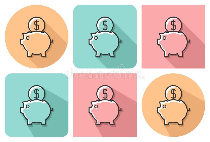 Zarysowana ikona prosiątko bank royalty ilustracja