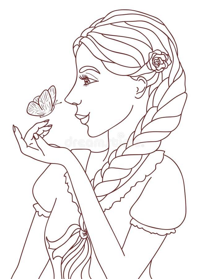 Zarysowana ilustracja dosyć ono uśmiecha się dziewczyna z motylem royalty ilustracja