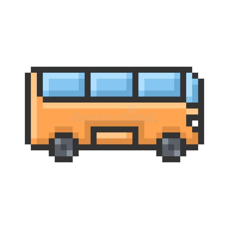 Zarysowana piksel ikona autobus royalty ilustracja