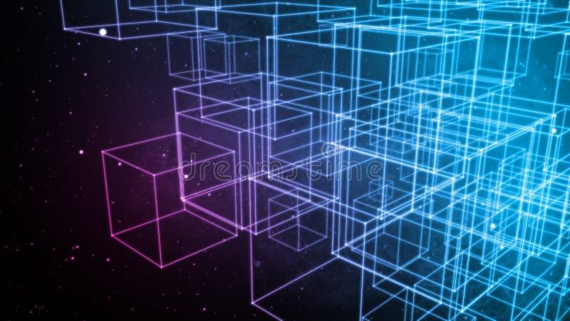 Zarysowany 3D pudełek rozgałęźnik w przestrzeni ilustracji
