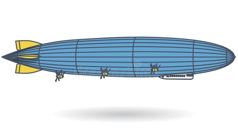 Zarysowany ogromny sterowa sterowiec wypełniający z wodór Błękitny kolor żółty stylizujący latanie balon Duzi dirigible, śmigła i royalty ilustracja