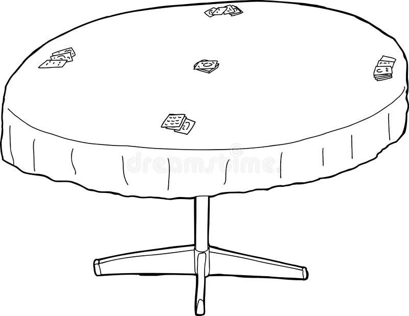 Zarysowany stół z kartami ilustracja wektor