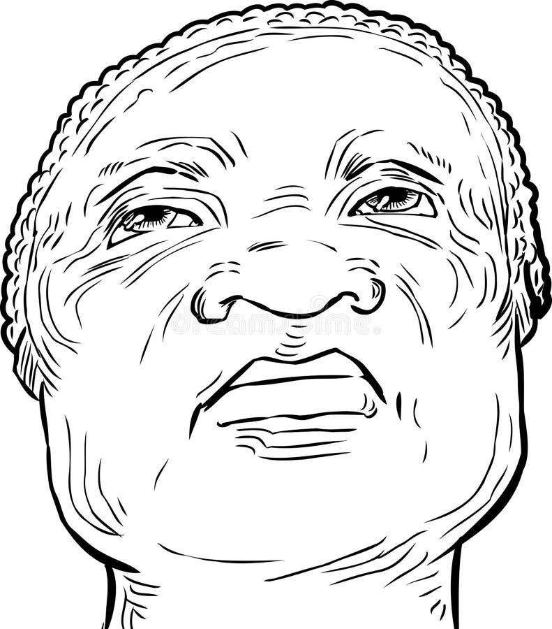 Zarysowany starszy mężczyzna patrzeje oddolny royalty ilustracja