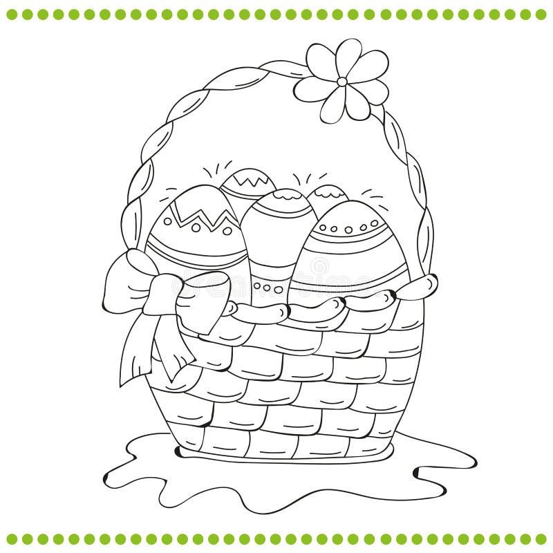 Zarysowany Wielkanocny kosz jajka ilustracji