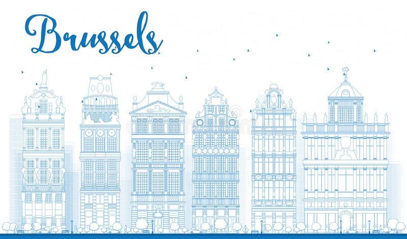 Zarysowywa Brukselską linię horyzontu z Ozdobnymi budynkami Uroczysty miejsce ilustracja wektor