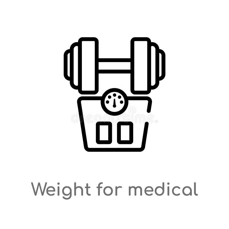 zarysowywa ci??ar dla medycznej sport praktyki wektoru ikony odosobniona czarna prosta kreskowego elementu ilustracja od medyczne ilustracji