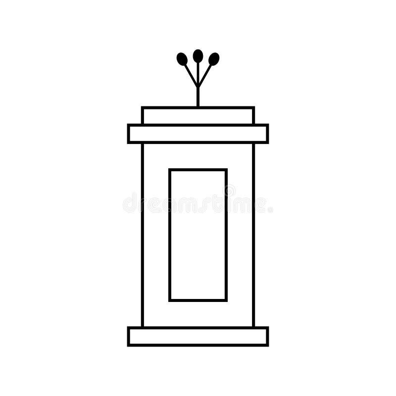 Zarysowywa czarną trybuny ikonę odizolowywającą na białym tle ilustracji
