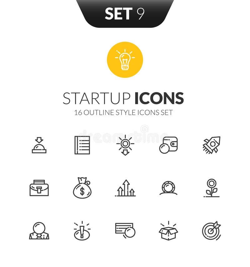 Zarysowywa czarne ikony ustawiać w cienkim nowożytnego projekta stylu royalty ilustracja