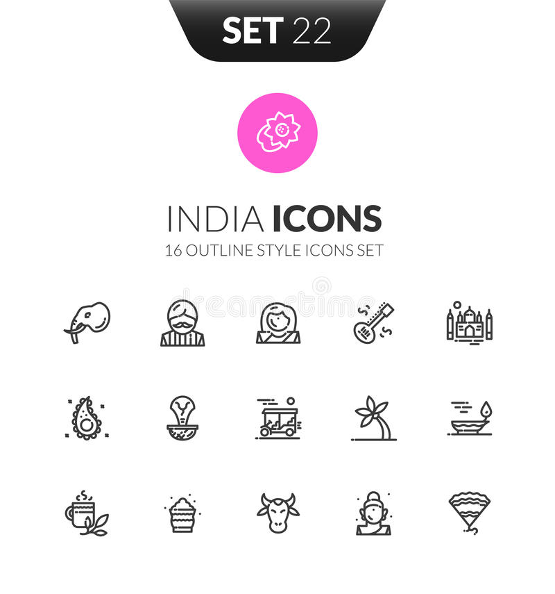 Zarysowywa czarne ikony ustawiać w cienkim nowożytnego projekta stylu ilustracja wektor