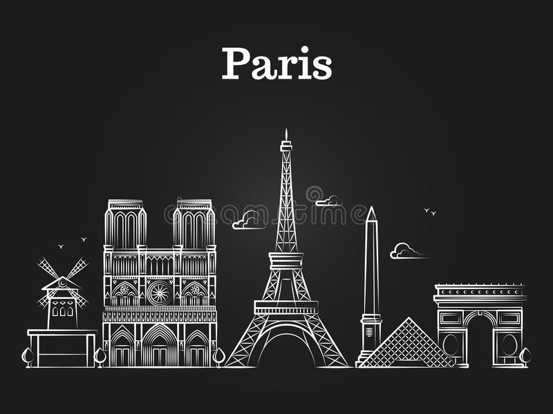 Zarysowywa francuską architekturę, Paris panoramy miasta linii horyzontu wektor ilustracja wektor