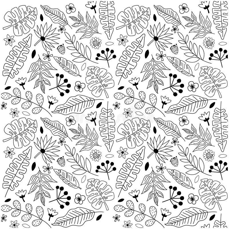 Zarysowywa handdrawn bezszwowego tło z tropikalnymi liśćmi i kwiatami ilustracja wektor