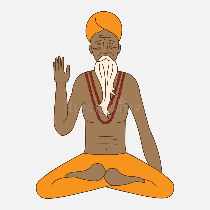 Zarysowywa joga medytuje sadhu, loga Asia hinduism michaelita, indu człowieka religijnego charakter ilustracji