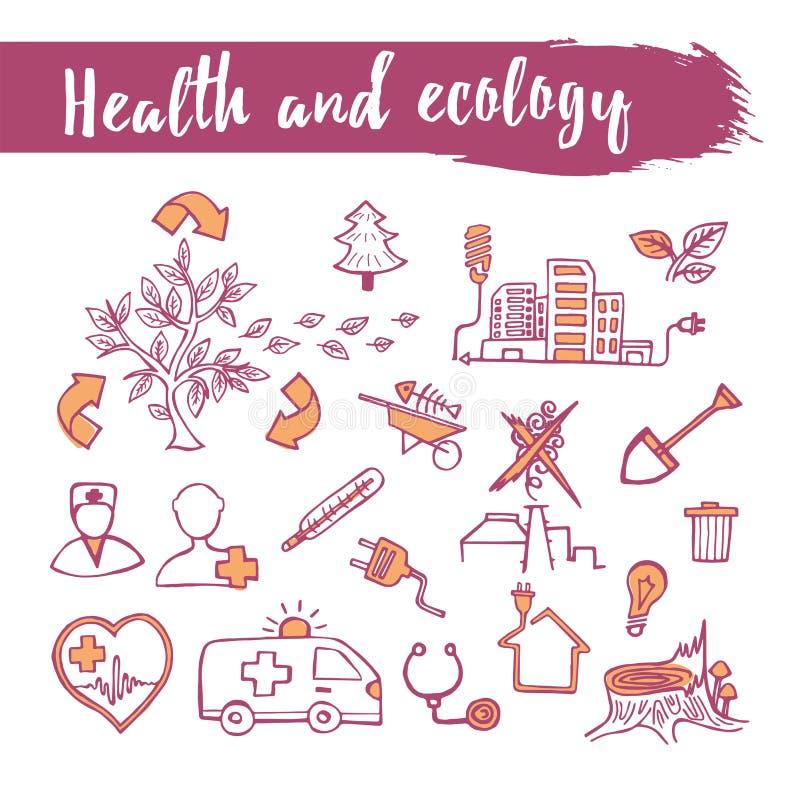 Zarysowywa kreślącego ikona ustawiającego zdrowie i ekologii temat Kreskowa sztuka P ilustracji