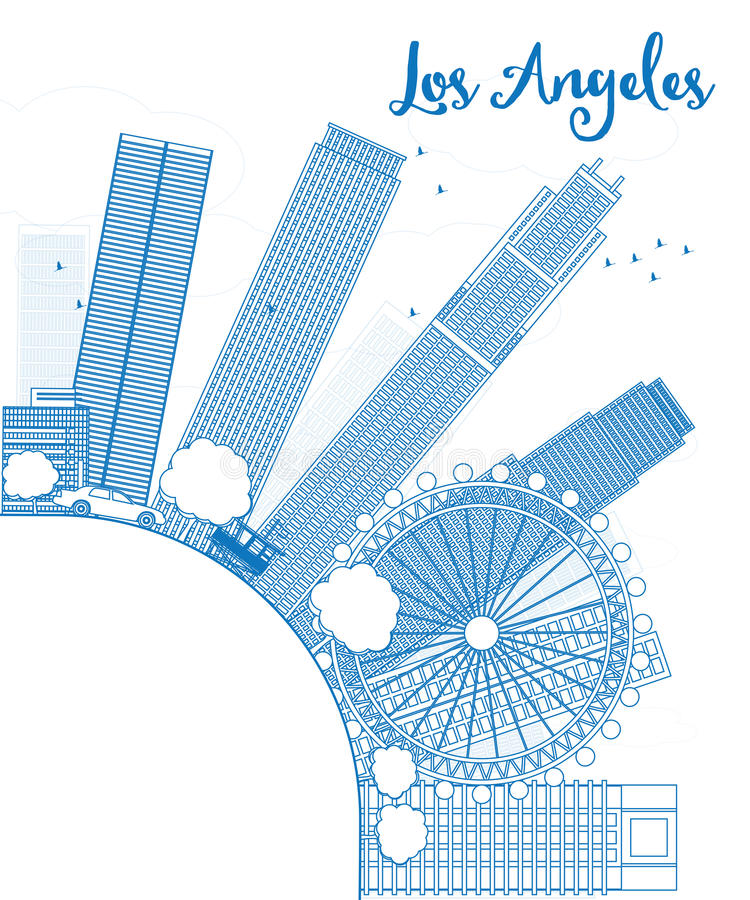 Zarysowywa Los Angeles linię horyzontu z Błękitnymi budynkami i kopiuje przestrzeń ilustracja wektor
