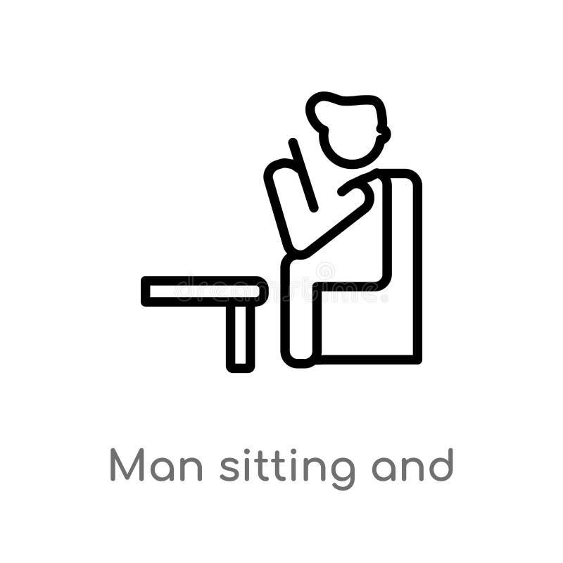 zarysowywa mężczyzny obsiadanie i czytelniczej książki wektoru ikonę odosobniona czarna prosta kreskowego elementu ilustracja od  ilustracja wektor