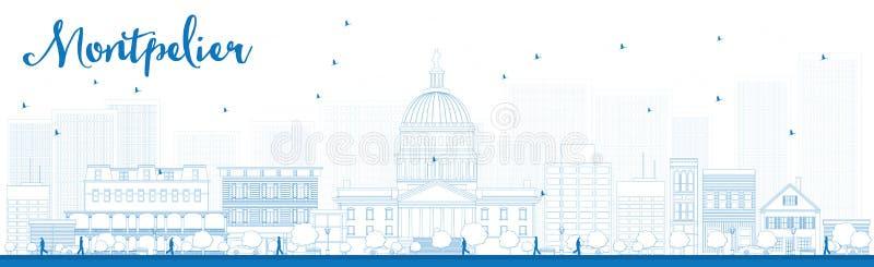 Zarysowywa Montpelier miasta linię horyzontu z błękitnymi budynkami (Vermont) ilustracji