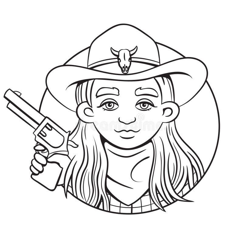 Zarysowywa odosobnioną wektorową ilustrację z młodą rodeo dziewczyną w kowbojskim kapeluszu i kolt w jej ręce royalty ilustracja