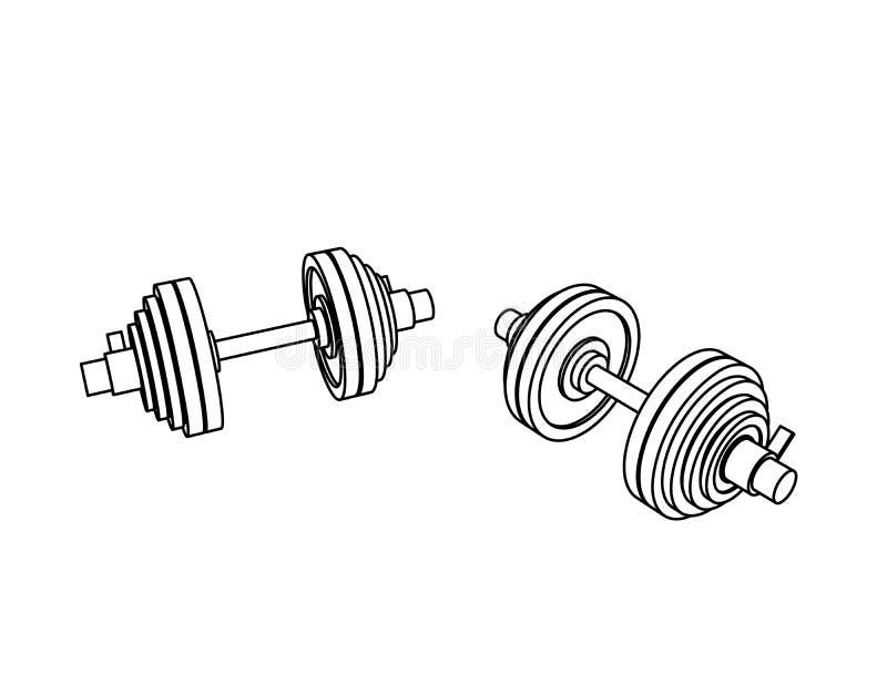 Zarysowywa perspektywicznego widoku sprawności fizycznej wektor dwa loadable dumbbells na białym tle ilustracja wektor
