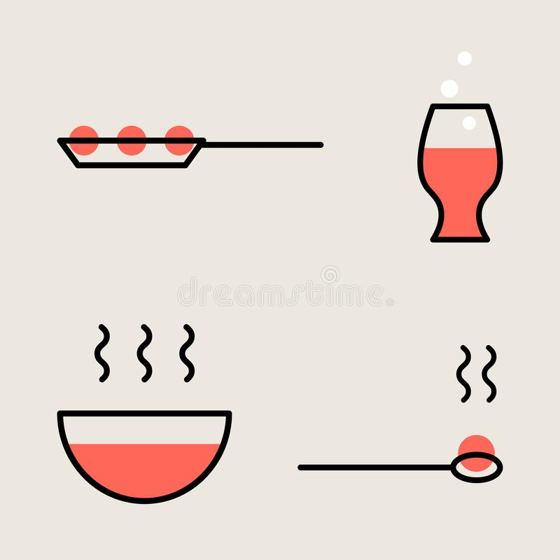 Zarysowywa piktogram restauracja, kuchnia, dom Prosty symbol niecka, szkło, talerz, łyżka ilustracji