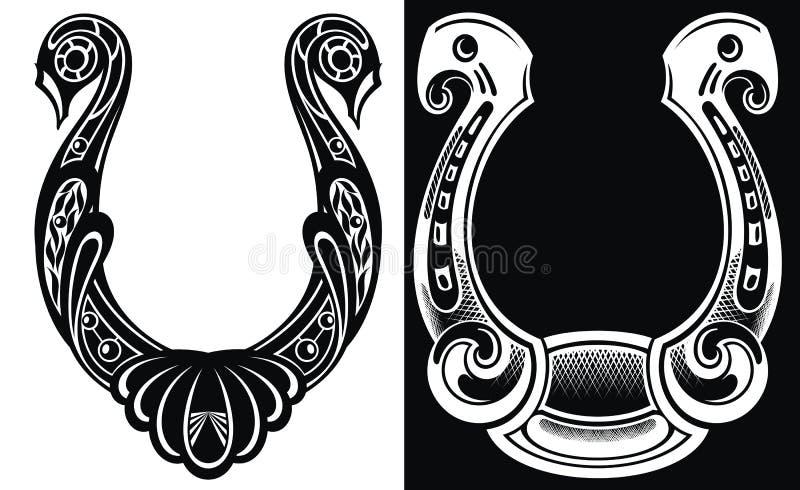 Zarysowywa podkowy ikonę odizolowywającą na białym i czarnym tle dla strona internetowa projekta, mobilny zastosowanie, logo, ui ilustracja wektor