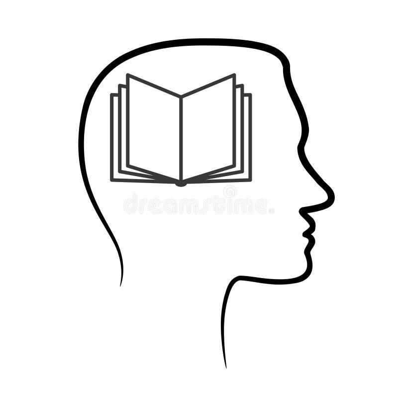 Zarysowywa projekt ikonę z ludzką głową i otwiera książkę, mózg Abstra ilustracja wektor