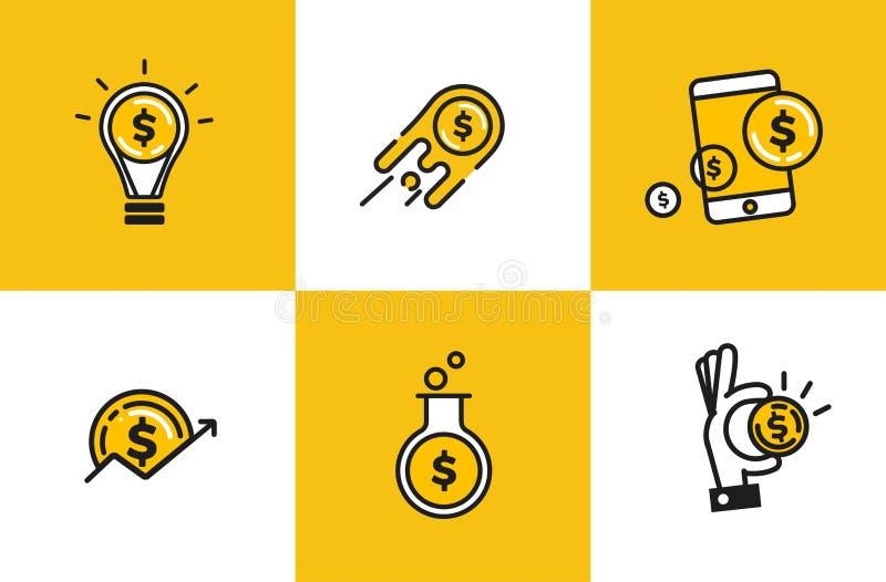Zarysowywa sieci ikonę ustawiającą - pieniądze, finanse, zapłaty Logo przedmiot z dolar monetą ilustracja wektor