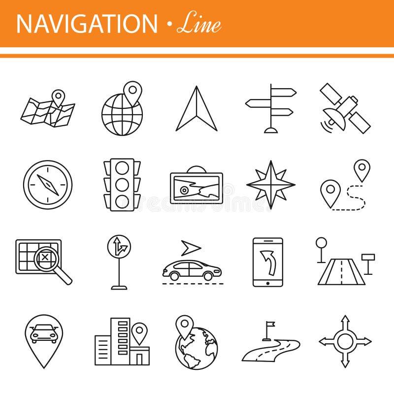 Zarysowywa sieci ikony ustawiać - nawigacja, lokacja, transport ilustracji