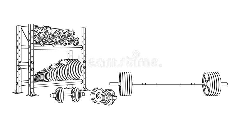 Zarysowywa sprawność fizyczna wektor na białym tle olimpijski barbell, dumbbells i składowy szelfowy pełny barbrell talerze, royalty ilustracja