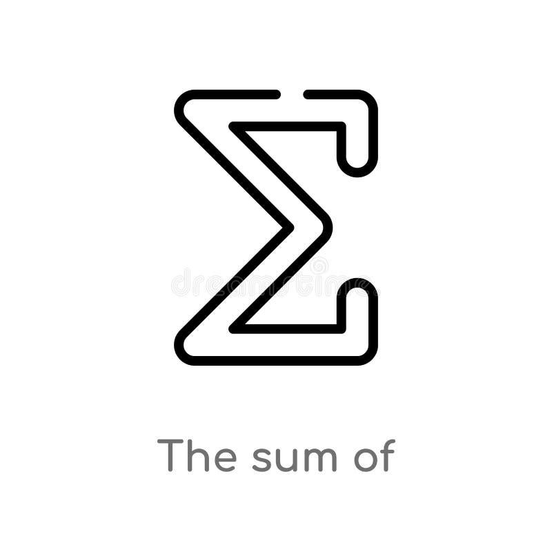 zarysowywa sum? wektorowa ikona odosobniona czarna prosta kreskowego elementu ilustracja od znaka poj?cia editable wektorowy uder royalty ilustracja
