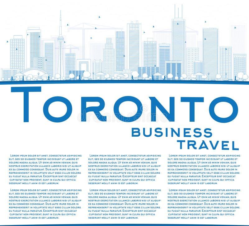 Zarysowywa Toronto linię horyzontu z błękitnymi budynkami i kopiuje przestrzeń ilustracji