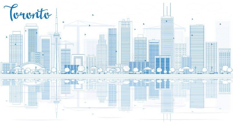 Zarysowywa Toronto linię horyzontu z błękitnymi odbiciami i budynkami ilustracji