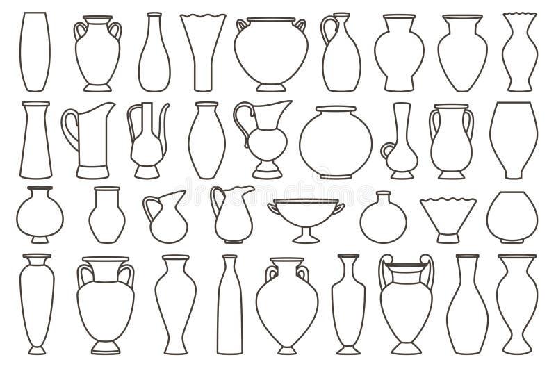Zarysowywa wazy i amfory kolekcję, wektor liniowy royalty ilustracja