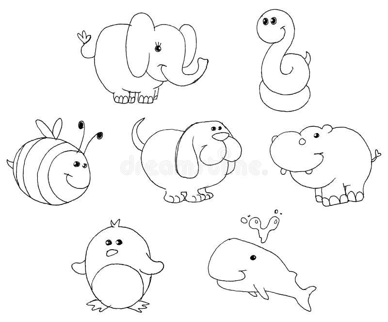 zarysowywający zwierząt doodles ilustracji
