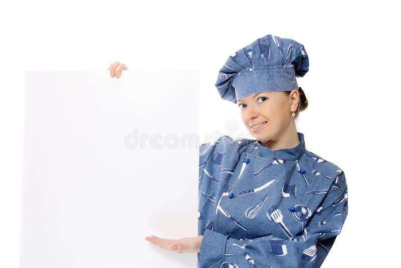 zarząd gospodarstwa piękna kobieta kucharz ogłoszeń obraz royalty free