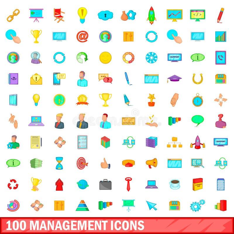 100 zarządzań ikon ustawiających, kreskówka styl ilustracja wektor