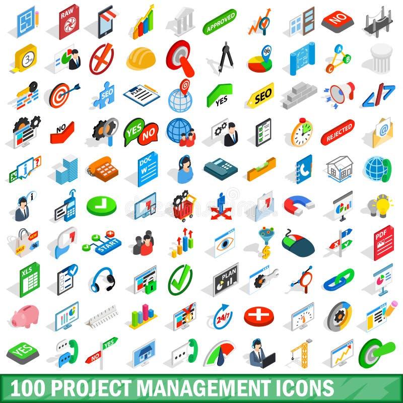 100 zarządzań projektem ikon ustawiających, isometric styl ilustracji