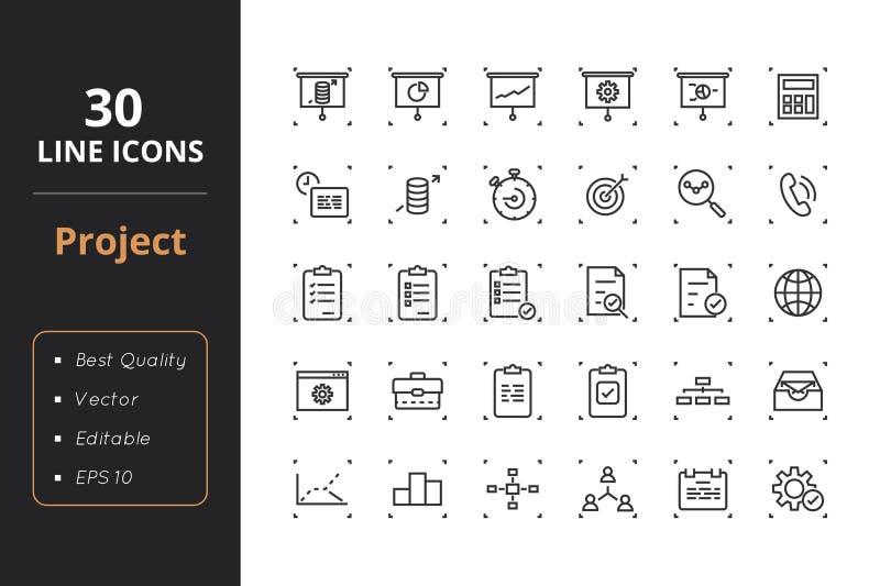 30 zarządzań projektem Kreskowych ikon royalty ilustracja